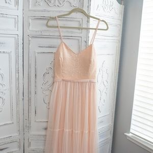 Pink Tulle Maxi Dress in Tiers SZ 10